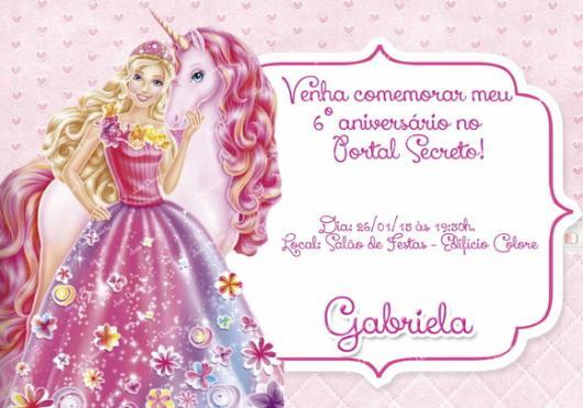 Convite lindinho da Barbie Princesa e seu unicórnio