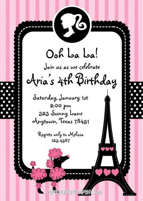 Convite da Barbie Paris com Torre Eiffel e cachorrinho