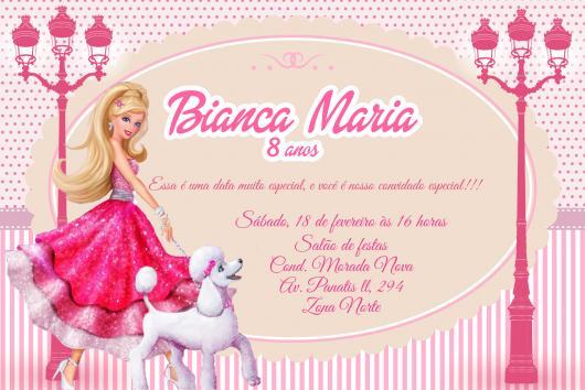 Dica de convite simples da Barbie