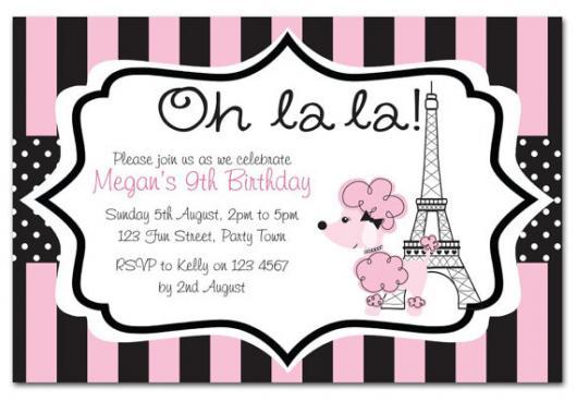 Outra dica de convite da Barbie Paris com Torre Eiffel e cachorrinho