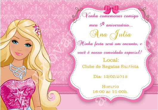 Convite rosa para completar sua festa da Barbie