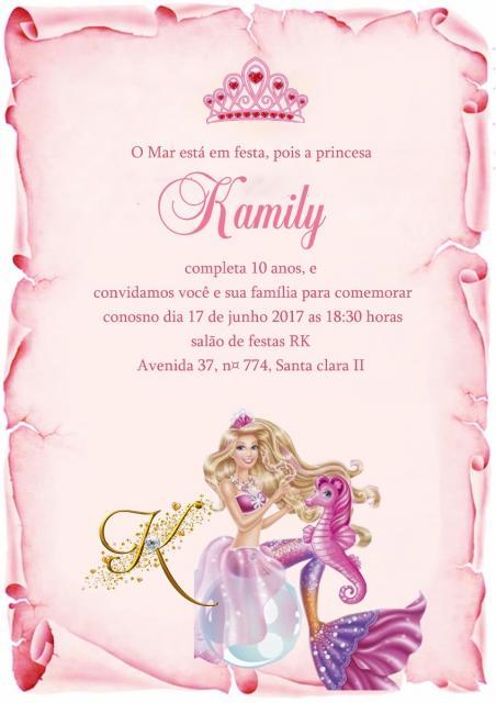 Os convites no formato pergaminho combinam com o tema Barbie Princesa