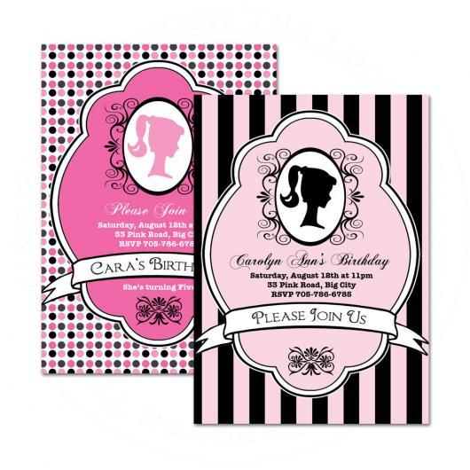 Duas ideias de convites da Barbie Paris