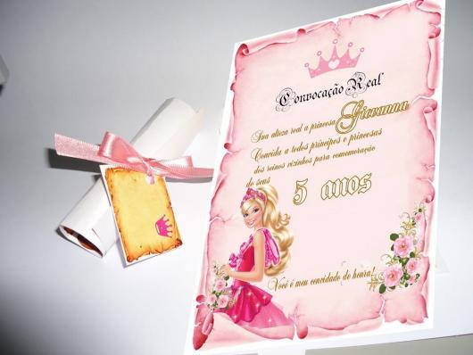 Convite da Barbie Princesa no formato convocação real