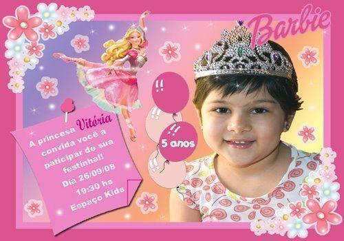 Convite da Barbie com foto da aniversariante