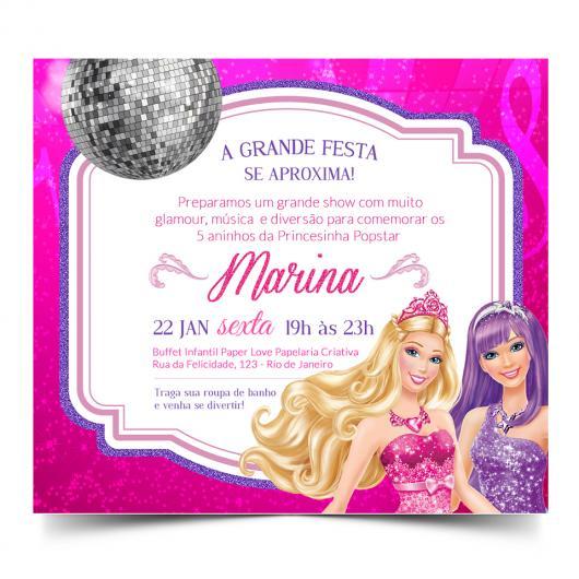 Convite inspirado na Barbie Princesa Popstar