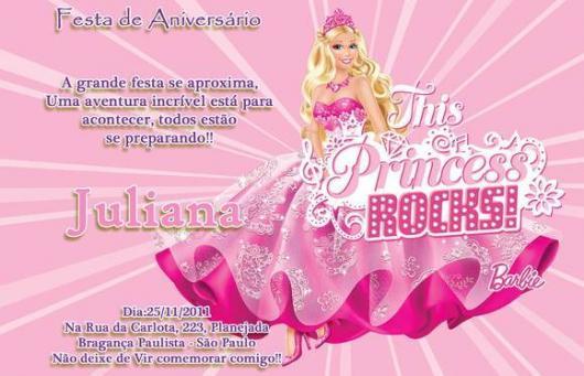 Convite da Barbie Princesa bem delicado