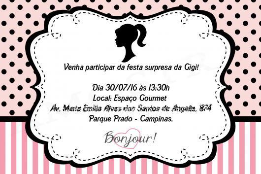 Modelo de convite da Barbie Paris