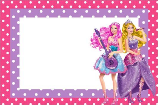 Convite da Barbie Princesa Popstar para imprimir gratuitamente