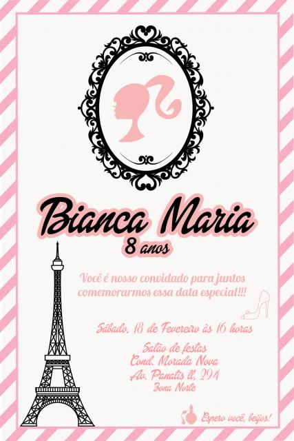Personalize o convite da Barbie Paris