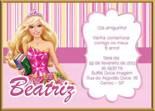 Convite personalizado da Barbie Princesa