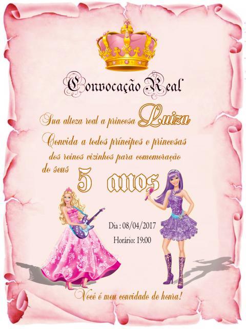 Convite em forma de pergaminho da Barbie Princesa Pop Star