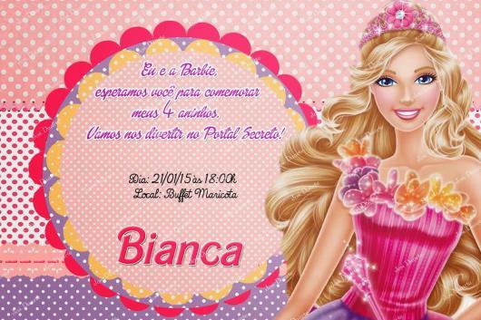 Convite com desenho da Barbie Princesa