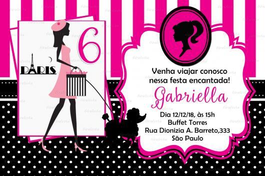 Convite pink e preto para festa da Barbie Paris
