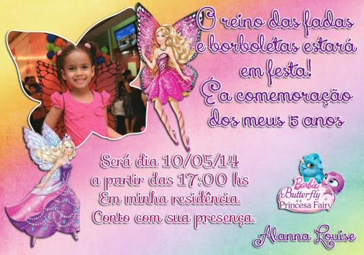 Você pode personalizar o convite da Barbie Princesa com a foto da aniversariante