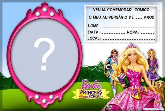 Modelo de convite da Barbie para por informações da festa e foto