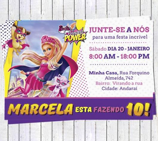 Convite diferente da Barbie Princesa Power