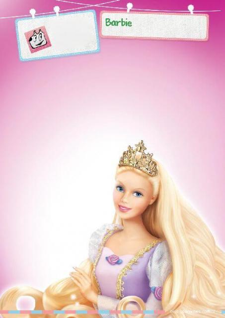 Convite simples da Barbie para imprimir grátis
