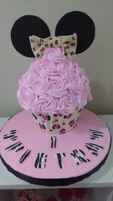 Cupcake lindo e criativo da Minnie em animal print