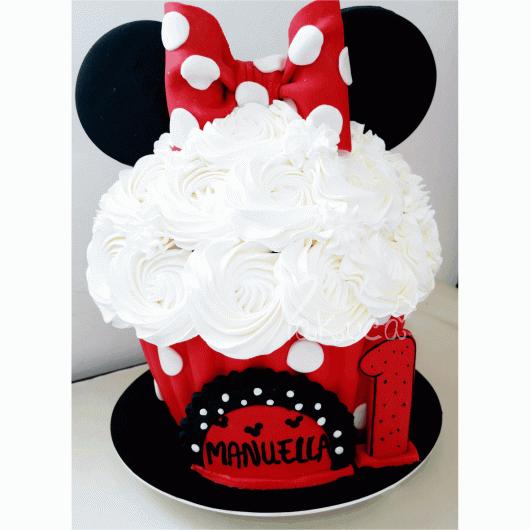 Modelo de cupcake tradicional da Minnie para aniversário de 1 ano
