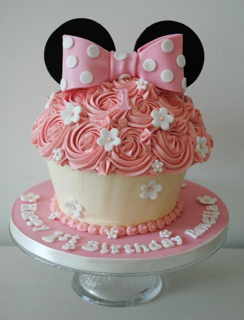 Decoração rosê para cupcake da Minnie gigante