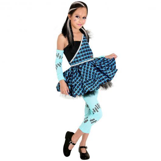 Dica de fantasia de Frankie Stein com vestido e legging