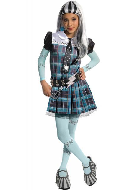 frankie stein vestido xadrez azul e meia com remendos