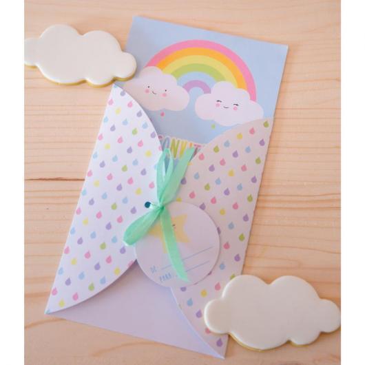 Convite scrap para festa arco-íris