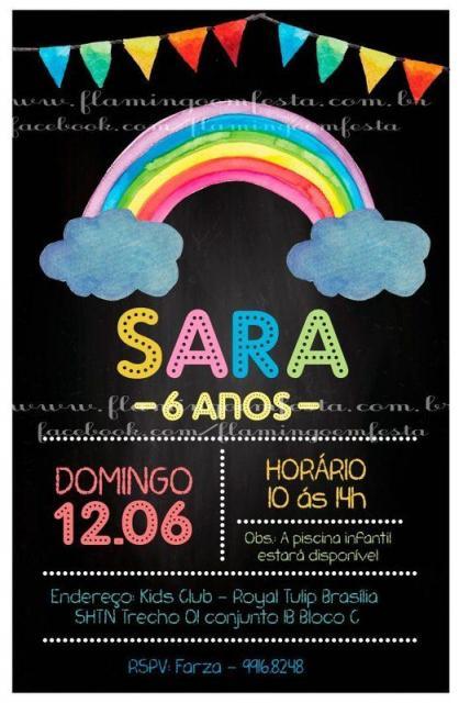 Convite chalkboard para festa arco-íris