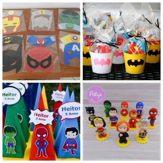 Máscaras, kit com doces e brinquedos, mini chapéu e até miniaturas de biscuit