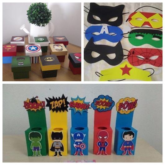Caixinhas personalizadas, máscaras de heróis, caixinhas temáticas