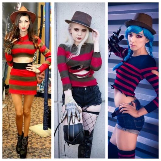 Modelos femininos da famosa fantasia Freddy Krueger