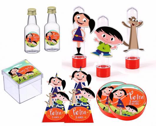Kit Festa Show da Luna com tubetes, cones, caixinhas, latinhas e garrafinhas