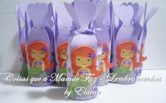 Lembrancinha Pequena Sereia de EVA: caixinha de doces