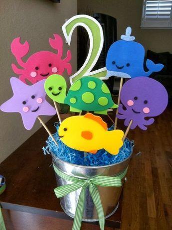 Lembrancinha Pequena Sereia de EVA: balde com peixes