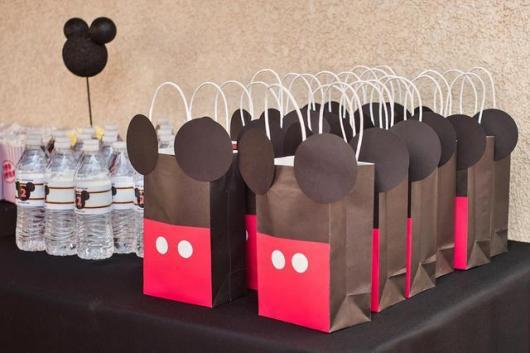 Lembrancinha simples do Mickey sacolinha de papel personalizada