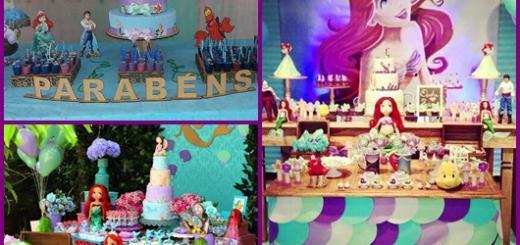 Mesa de Festa Infantil com Tema Pequena Sereia inspirações