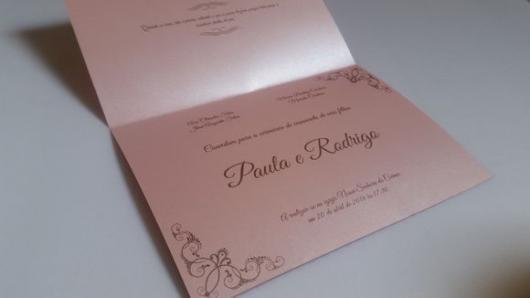 Papel para convite: convite de casamento em papel perolado rosa