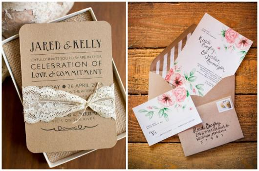 Papel para convite: convite de casamento em papel kraft com renda