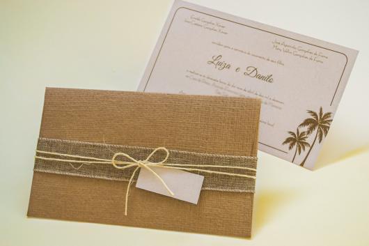 Papel para convite: convite de casamento em papel kraft com laço