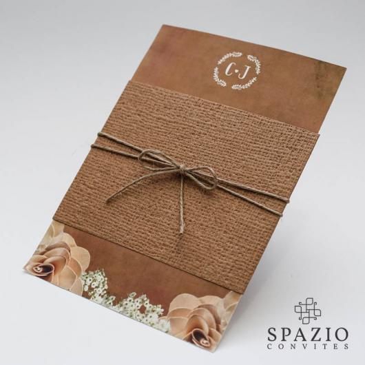 Papel para convite: convite de casamento em papel kraft personalizado com flores