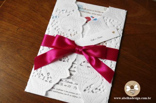 Papel para convite: convite de casamento em papel rendado