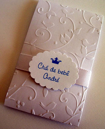 Papel para convite: convite de chá de bebê em papel aspen