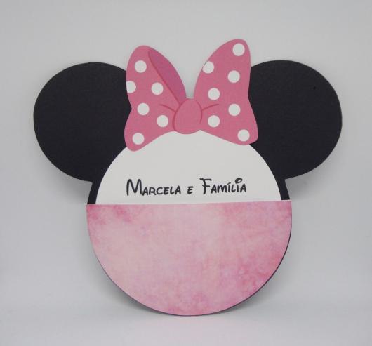 Papel para convite: convite Minnie Rosa em papel color plus