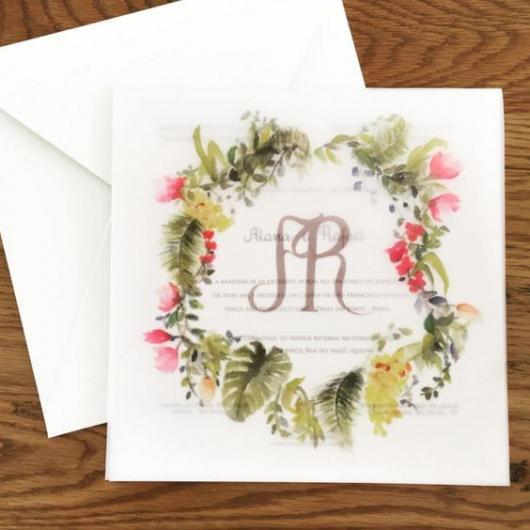 Papel para convite: convite de casamento Rosa em papel vegetal