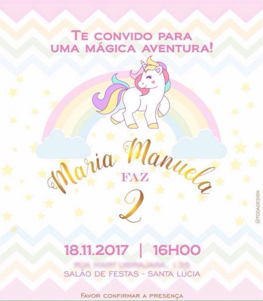Convite lindo de Unicórnio para aniversário de 2 anos