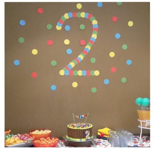 Dica simples para decorar a parede do aniversário de 2 anos
