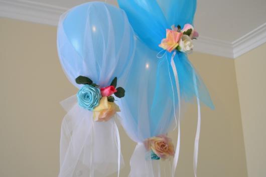 decoração com bexiga azul