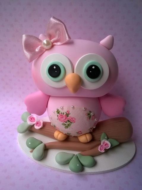 Topo de bolo de coruja rosa