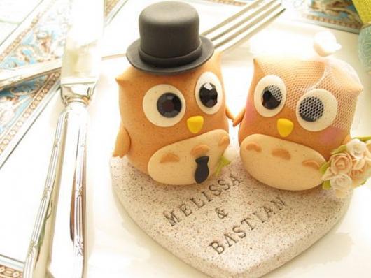 Topo de bolo de coruja para casamento